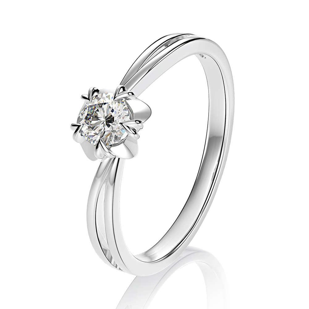 HBP fashion luxury jewelry straight classic snowflake net red proposal wedding zircon ring main stone 5mm18k gold