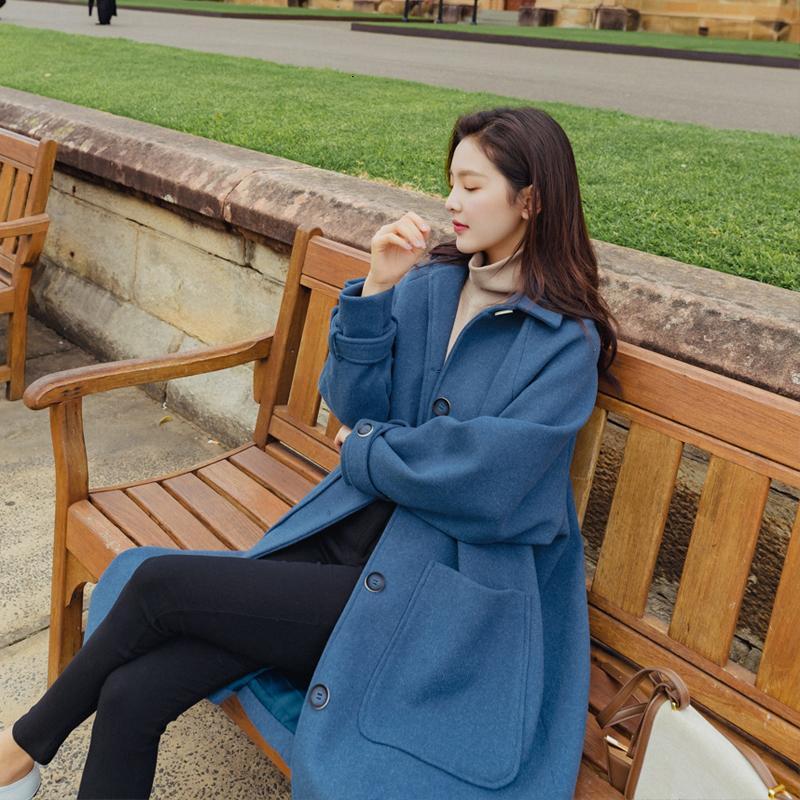 Женщина зимние шерстяные пальто смешивает теплые негабаритные однобортные длинные хаки голубые карманы леди верхняя одежда женский E7Z5