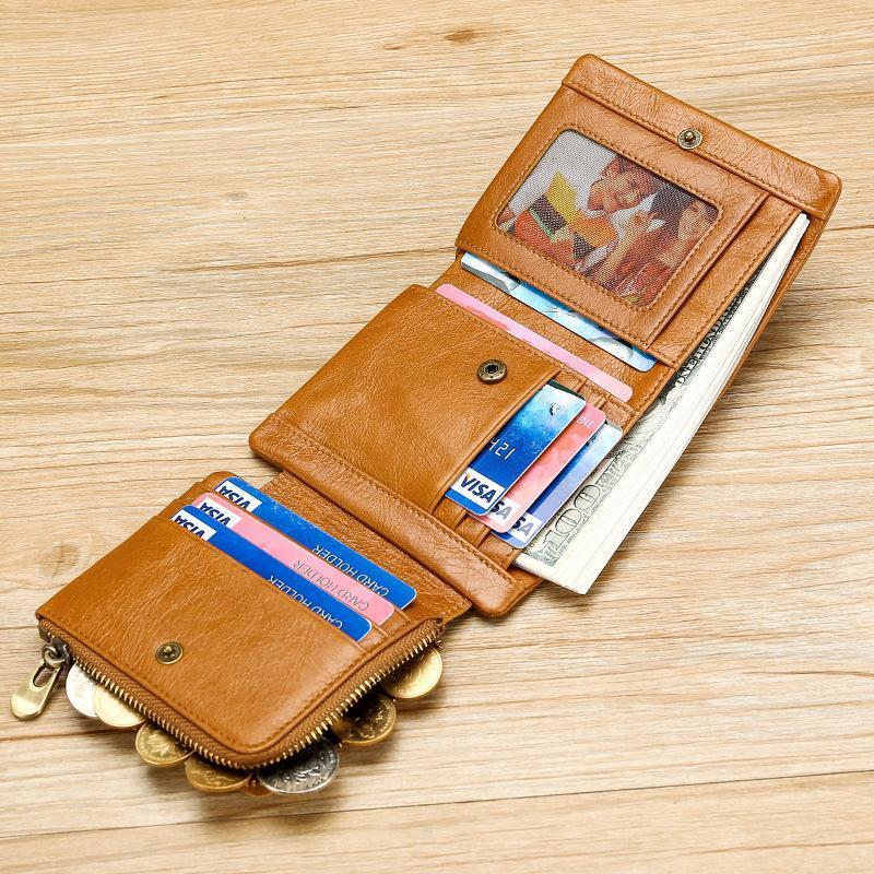 2021 Nuovo portafoglio casual multi-funzionale del portafoglio da uomo RFID Olio di cera in pelle da uomo Tre piegatore Portafoglio in vera pelle Retro Borsa verticale 40