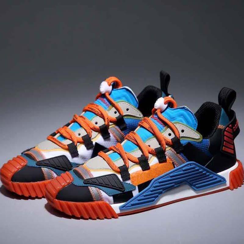 최고의 품질의 진짜 가죽 수제 여러 가지 빛깔의 그라디언트 기술 운동화 남성 여성 유명한 캐주얼 신발 트레이너 신발