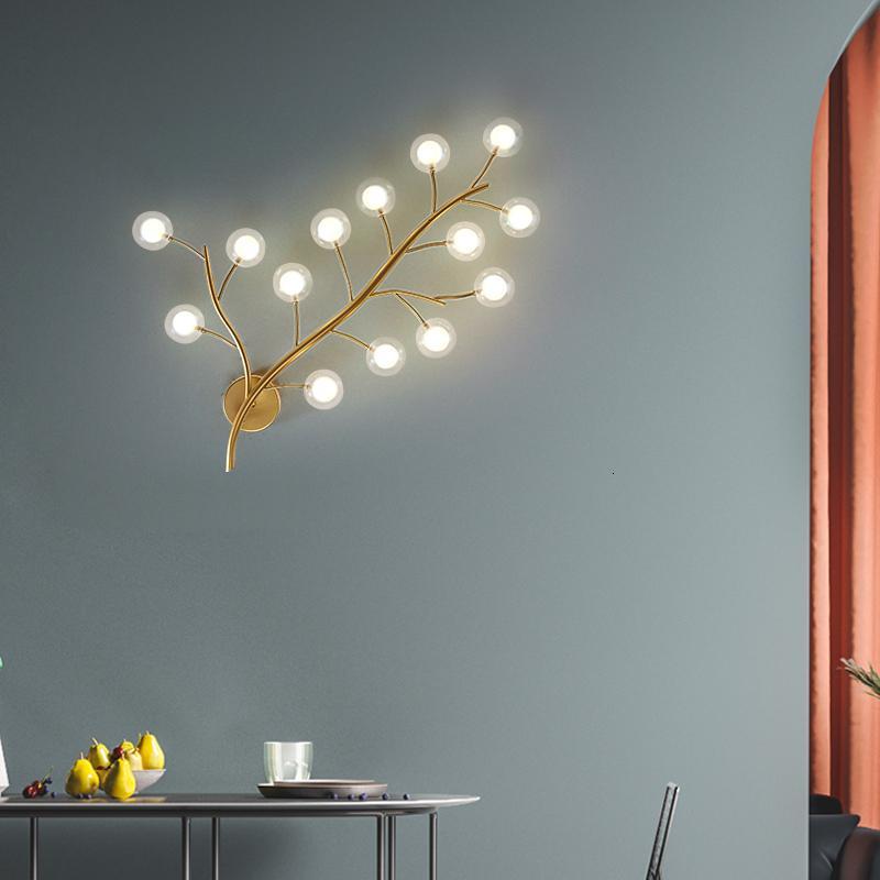 Frijoles mágicos dorados nórdicos realizados Forma de la luz de la pared El diseño del árbol Decoración para la sala de estar Corredor de metal Lámparas de lámparas Lámparas JT7C