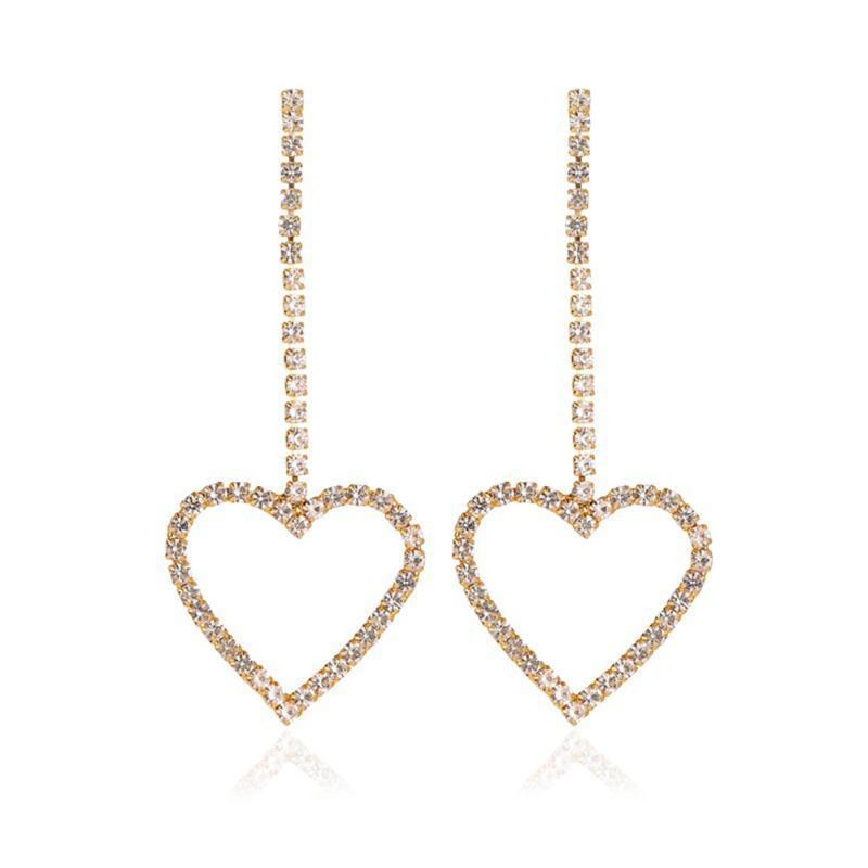 Modyle Dominado Exaginado Moda Zircon Crystal Doble Heart Pendientes Contratados Largas Mujeres Pendientes Joyería