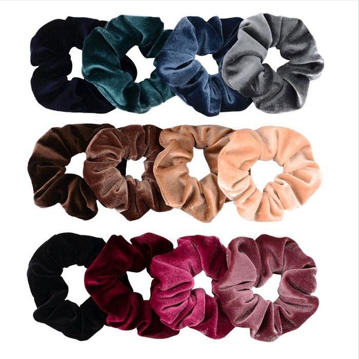 Kadınlar Kadife Elastik Saç Askısı Kız Çocuk Pleuche Saç Aksesuarları Scrunchy Hairbands At Kuyruğu Tutucu 39 Renkler WQ159 HB