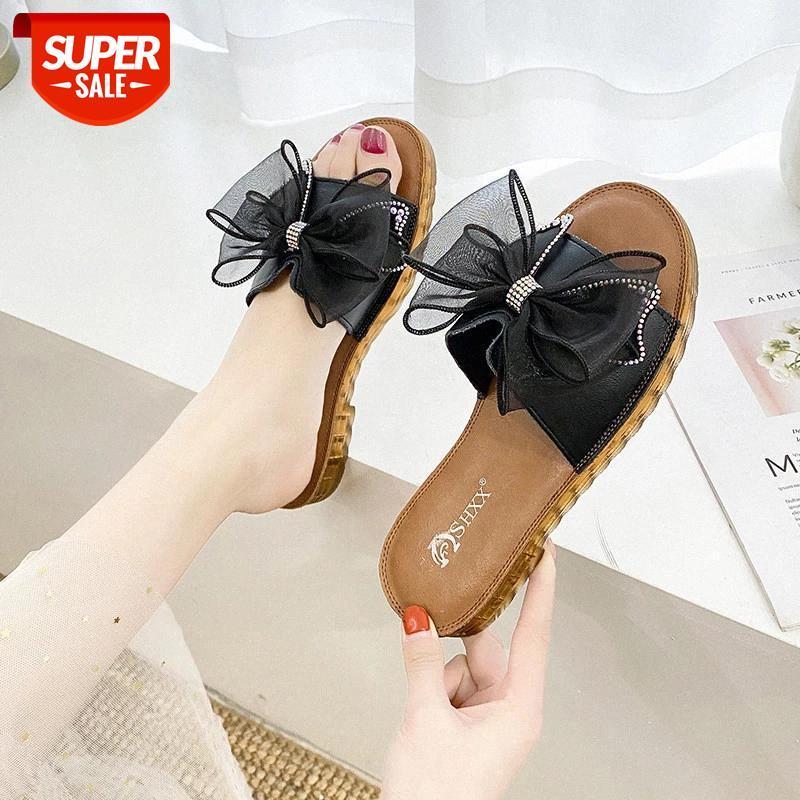 2020 Nuovo Arrivo Pelle Pelle Piatto Slipper Slipper Bowknot Sandali da donna Estate Dolce Donne Scarpe Scarpe estive Nuovi sandali di moda # A53Y