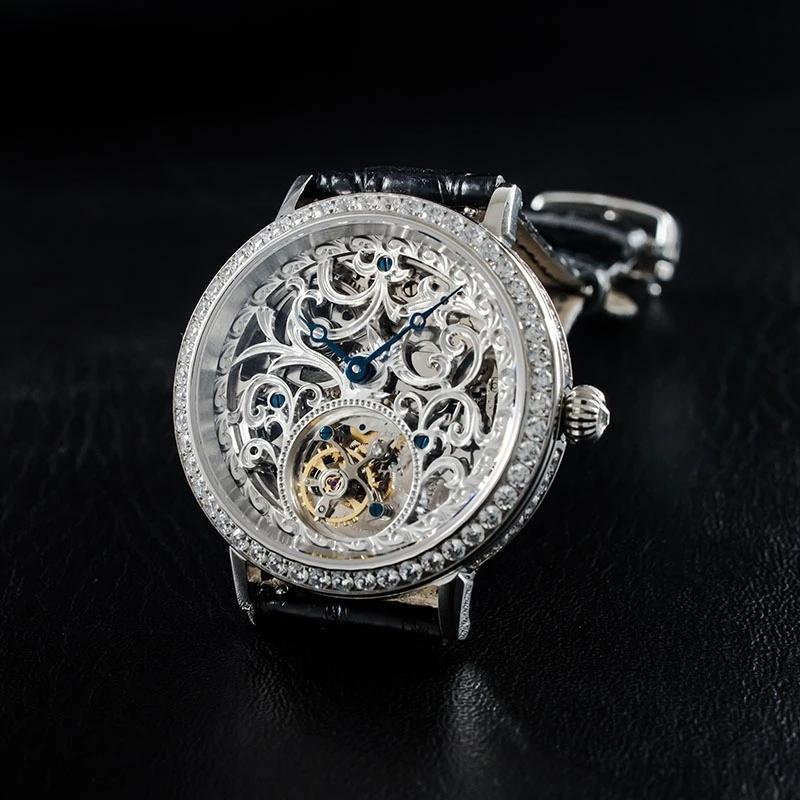 Saatı Turbillon İzle Sugess Mekanik El Rüzgar Gümüş Durumda Kristaller 5bar Su Geçirmez Safir Numarasısız Ölçekli Montre Homme Luxe