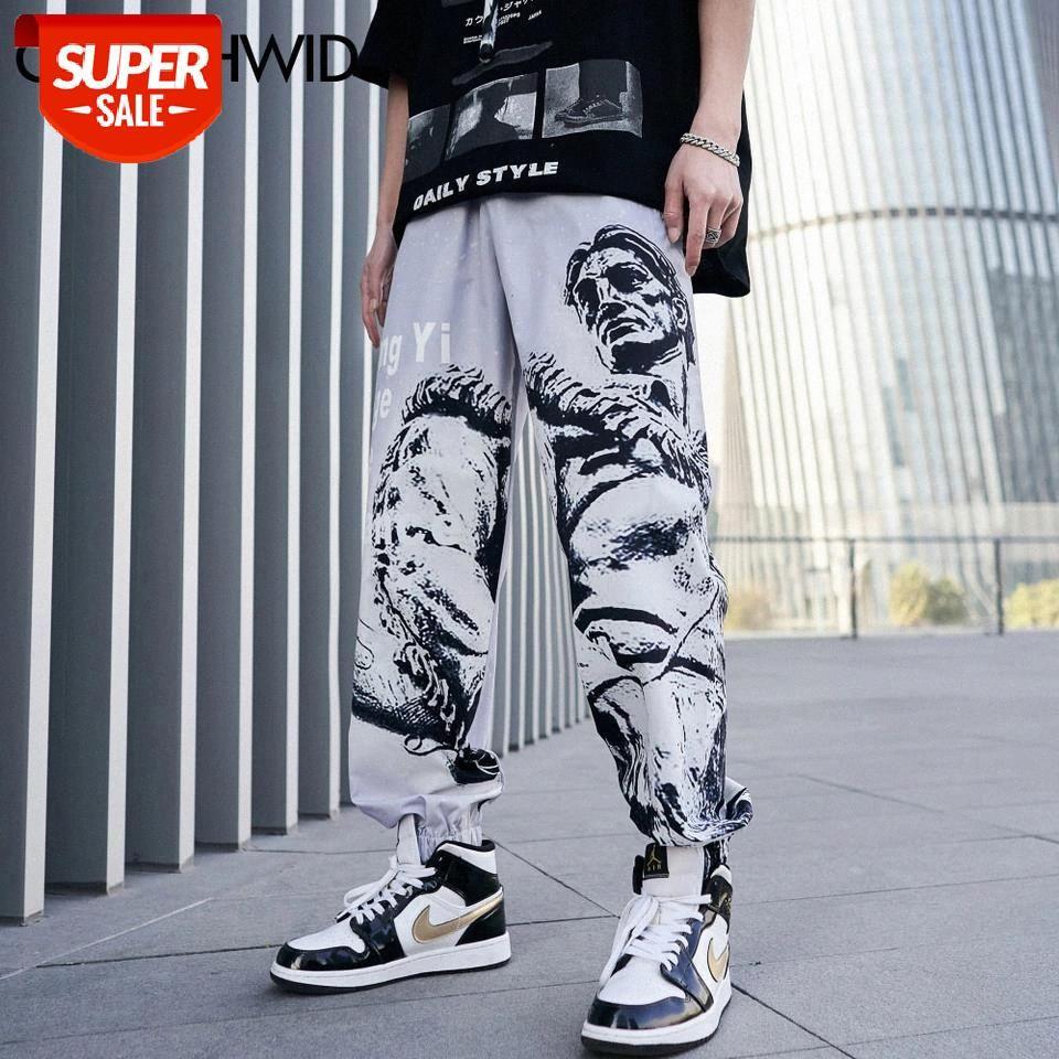 Calças de desenhador Streetwear Hip Hop Casual Calças Urbanas Calças Verão Verão Harajuku Punk Rock Gótico Gótico Fino Calças Macho # VI4D