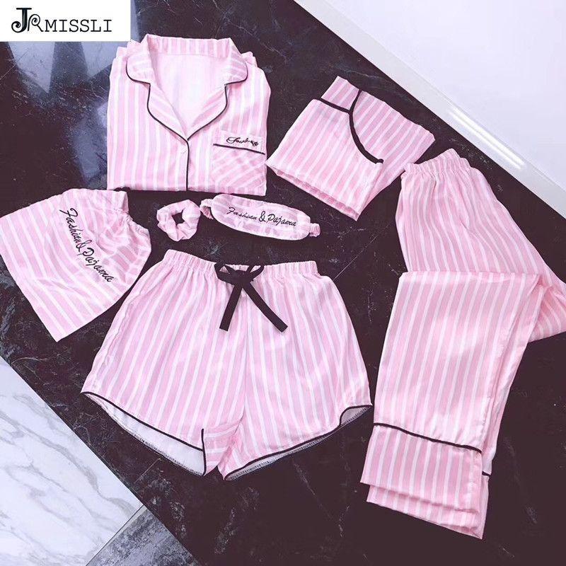 JRMISSLI Pigiama Donne 7 pezzi Pigiama rosa Set Set di seta satinata Sexy Lingerie Home Wear Sleepwear Pigiama Set Pijama Woman Y200107