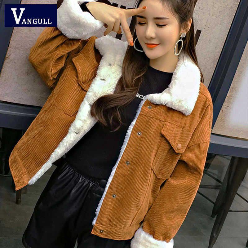 Jacket VANGULL Mulheres Winter Grosso alinhado pele Coats Parkas Moda Faux Fur Forro Corduroy blusões bonito Outwear 2019 New V191205