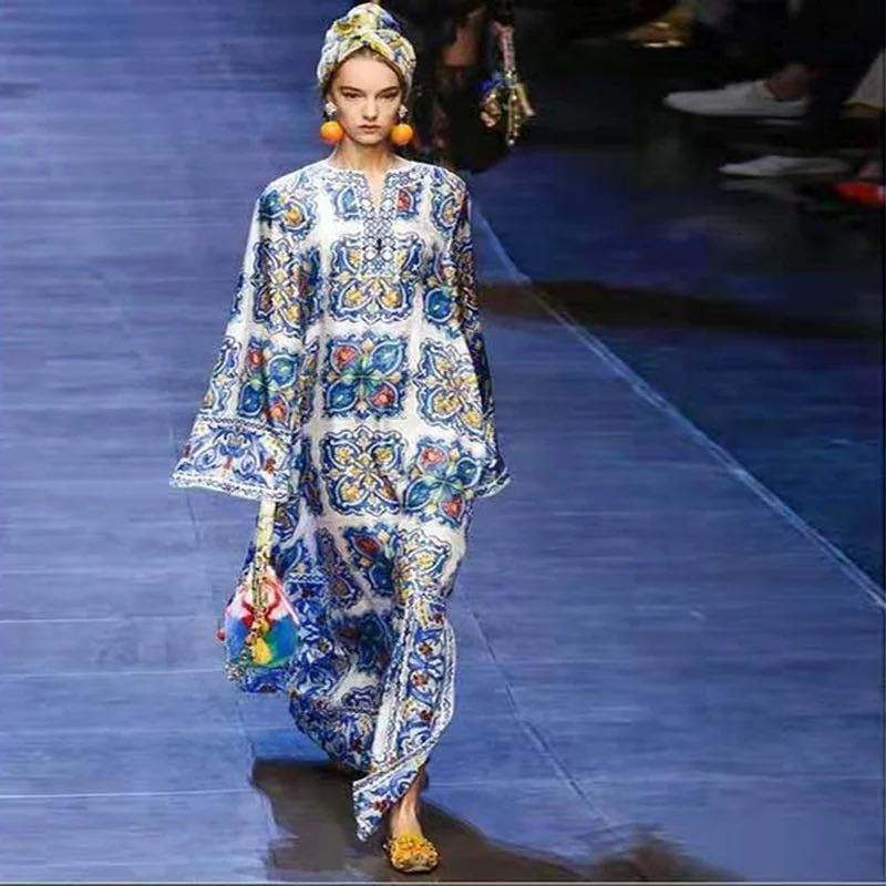 Jupe Bohemian Beach Robe de soirée en porcelaine bleue et blanche pour femmes Dresskn4t