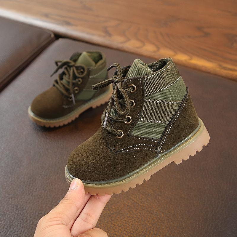 Bobora Kinder Freizeitschuhe Herbst Winter Stiefel Jungen Schuhe Mode Leder Weiche Antislip Mädchen Stiefel 21-30 Sportlauf