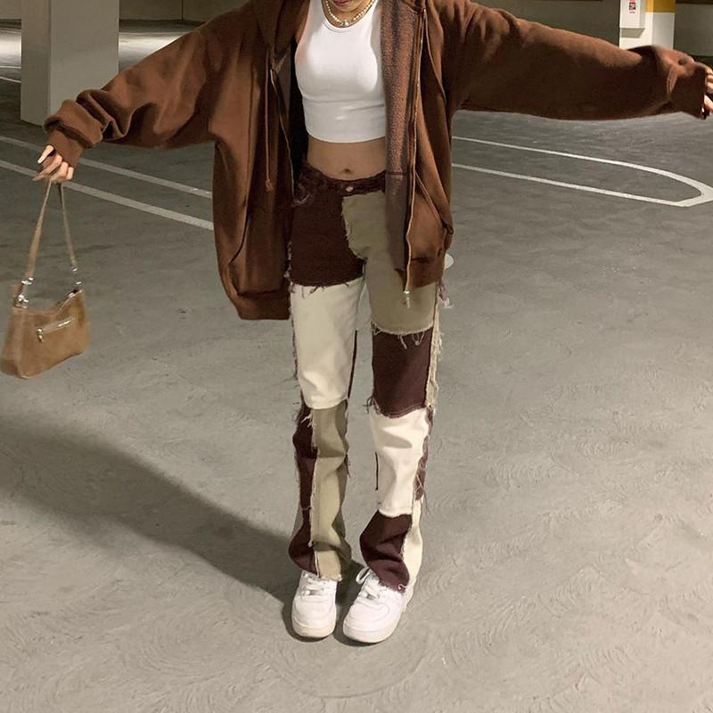 Jeans femininos marrom reta y2k para meninas feminino moda remendado mulheres vintage calças denim 2021 alta cintura calças harajuku capris