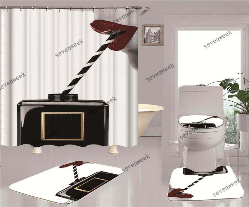 클래식 인쇄 된 홈 샤워 커튼 편안한 비 슬립 목욕 변기 꼭대기 덮개 4pcs 세트 매트 도어 매트 욕실 액세서리