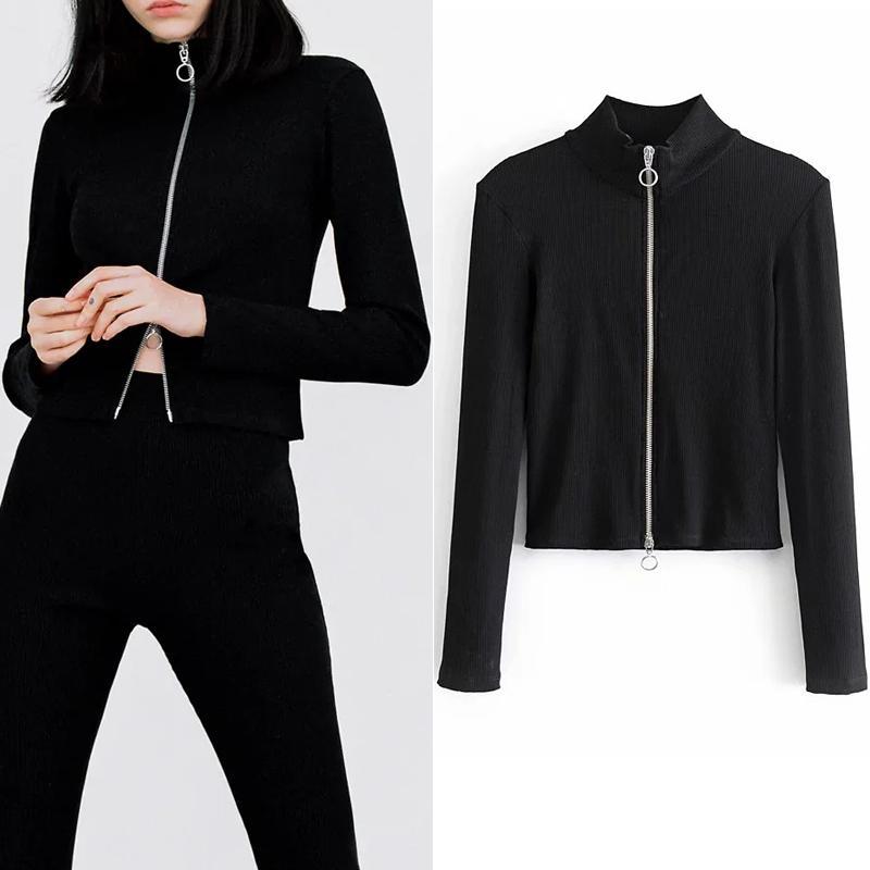 Black 2021 New Cropped Women Autumn Turtleneck Long Sleeve Ribbed Knitted Cardigan Tops Fashion Woman Jerseys 4zu8 YAM3