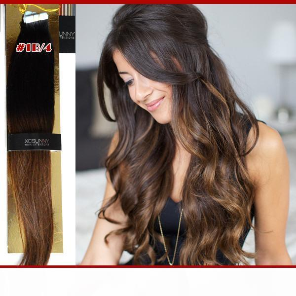 """Malaysian Virgin Human Hair Tape Extensions Ombre 18""""20"""" Tape 40pcs 100g Ombre Two Tone Dip Dye Glue Skin Tape In"""
