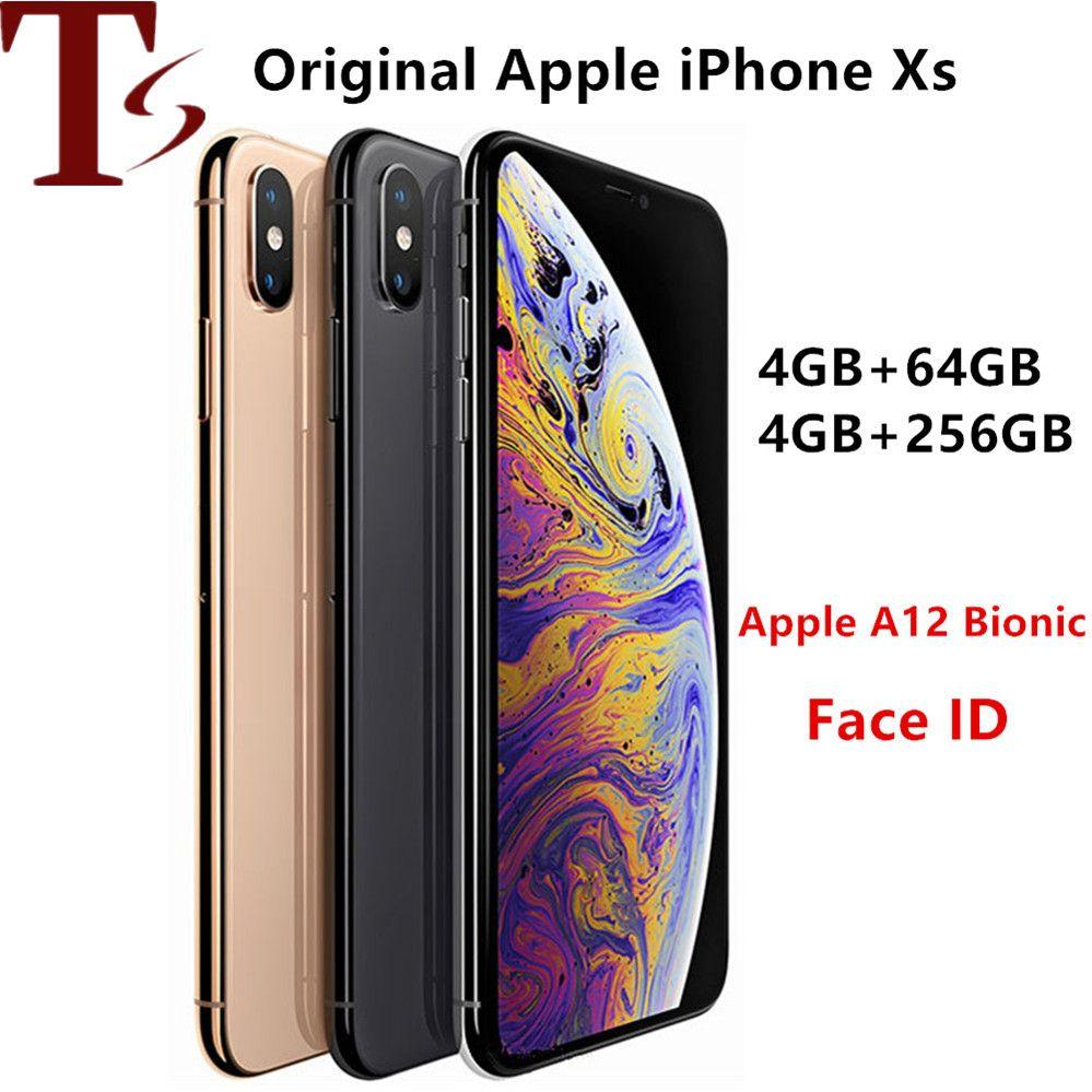 refurbished Unlocked Original iPhone XS Cell Phones 5.8inch Face id 4+64/256GB Smartphones 7+12MP 1SIM Card Mobile Phones