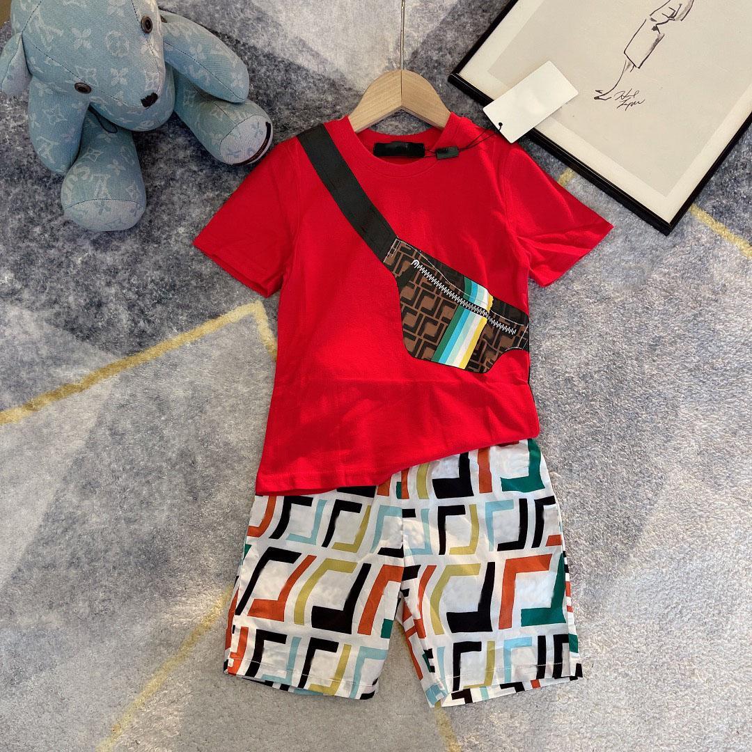 디자이너 키즈 캐주얼 짧은 T + 반바지 더블 F 세트 색상 어린이 양복 브랜드 소녀 꽃 인쇄 의류 Otton 티즈 크기 100-160 형제 및 자매 의상