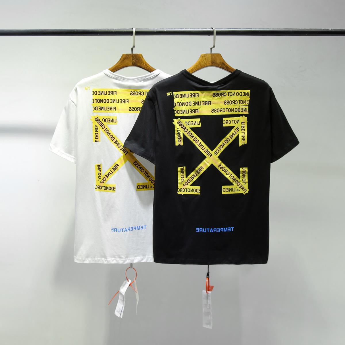 Off Style Bianco Fashion Brand Alfabeto T-shirt a manica corta T-shirt Europea Versione Europea Sciolto Allentato Maglia da uomo Abbinamento da uomo e donna Mezza