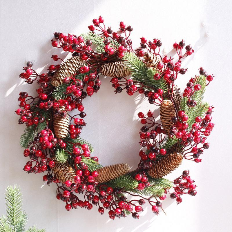 "Decorative Flowers & Wreaths D17.70 "" Christmas Door Wreath Home Decor Red Berry Artificial Flower Grapevine Dried Wedding Decoration"