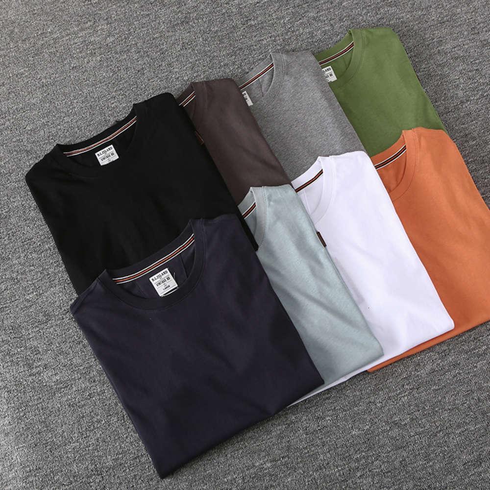 Printemps Été Nouveau Américain Kaki Couleur simple et polyvalente Col à col rond Homme T-shirt court Tee-shirt demi-manches BL601
