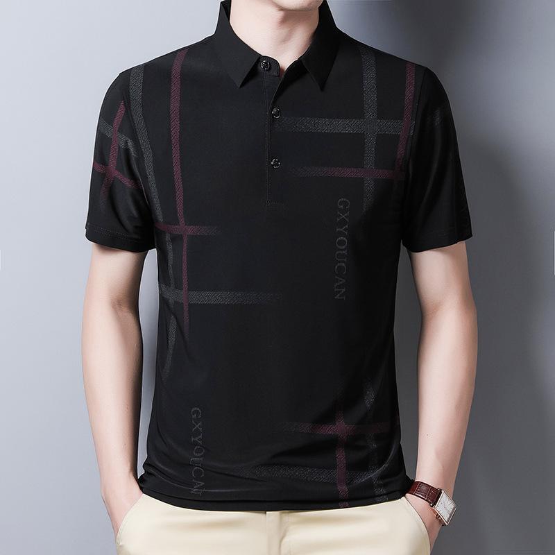 YMWMHU 새로운 도착 남성 스트라이프 시원한 여름 의류 캐주얼 격자 무늬가 가로류 남성 폴로 슬림 적합 한국어 셔츠