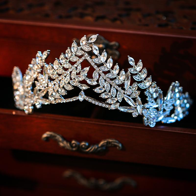 Croquilla de la boda de la hoja de cristal de lujo para la novia Tiara y la princesa de la corona de la princesa Tiara Rhinestone Accesorios para el cabello