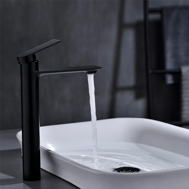 Bathroom vanity vessel Mixer High Rise Faucet for Counter top wash Basin Sink Tap Single Hole Washroom Brass Chrome Matt Black