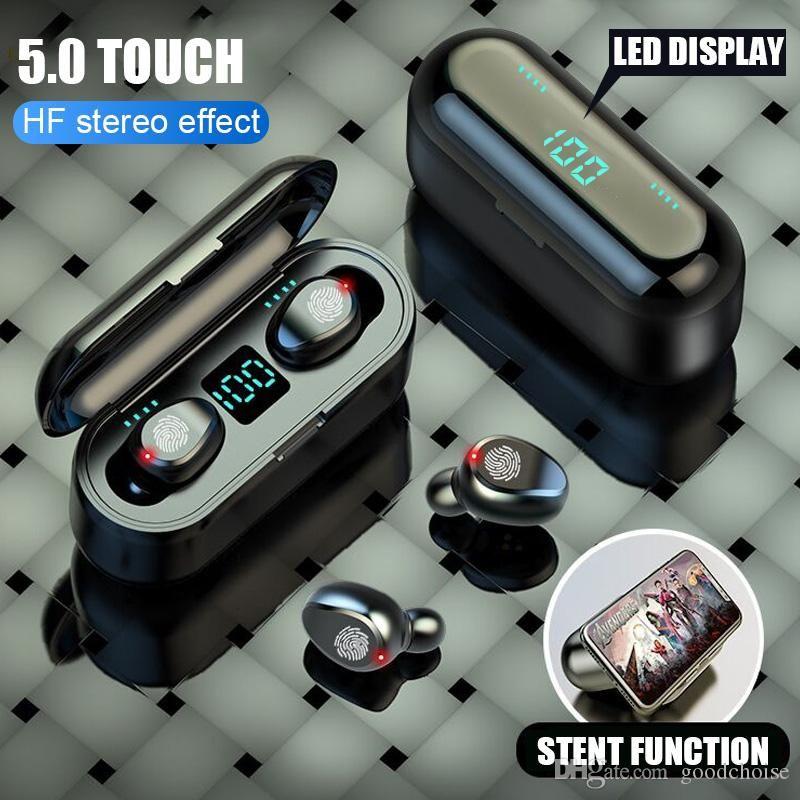 F9 TWS Kablosuz Kulaklık V5.0 Kulakiçi Bluetooth Kulaklık LED Ekran Mikrofon MQ01 ile 2000 mAh Güç Bankası Kulaklık