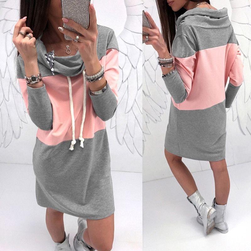 LEOSOXS primavera outono casual solta gordura cor combinando patchwork mulheres manga longa vestido novo cinzento rosa senhoras vestido 210304