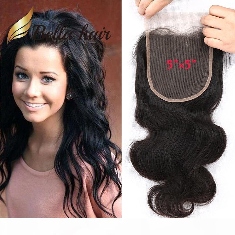 """5 * 5 6 * 6-Zoll-Spitze-Verschluss Natürliche Farbe Brasilianisches Malaysisches menschliches Haar-Top-Schließung Freies Teil 5 """"* 5"""" Body Wave Bella Haare"""