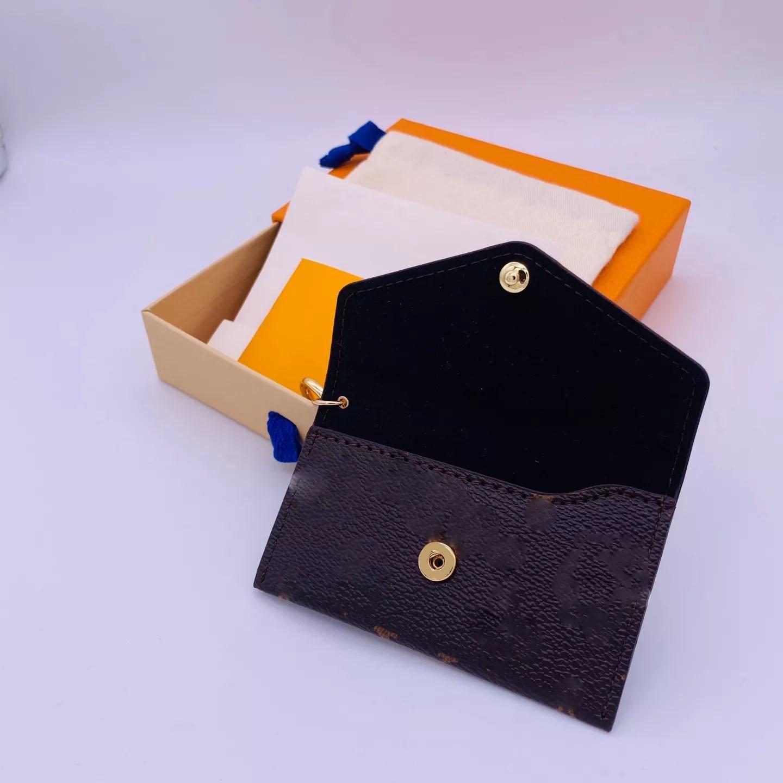 21 Moda Diseñador Cartera Billetera Llavero Llavero Moda Polso Colgante Cadena de cuero Encanto Marrón Flor Mini Bolsa Tarjetas Regalos Accesorios