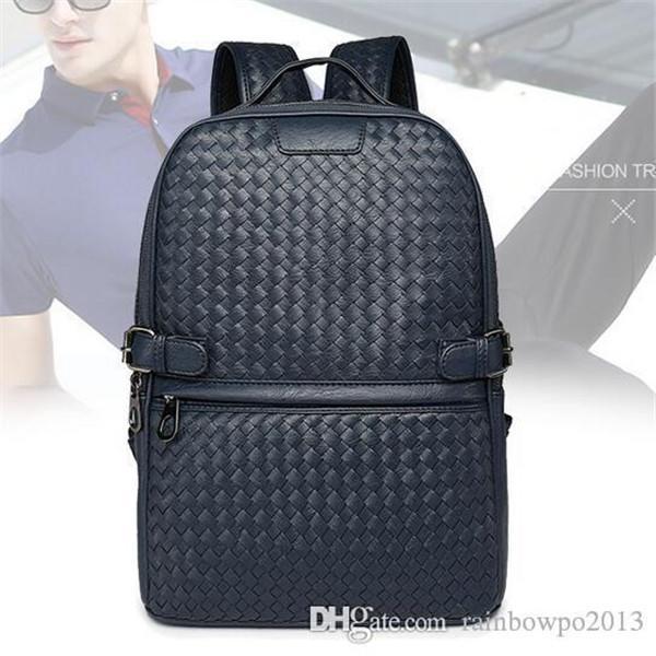 Factory оптом бренд мужская сумка рука тканые кожаные рюкзаки тенденция высококачественные кожаные мужчины рюкзаки колледж ветер случай случайные wovens сумрак