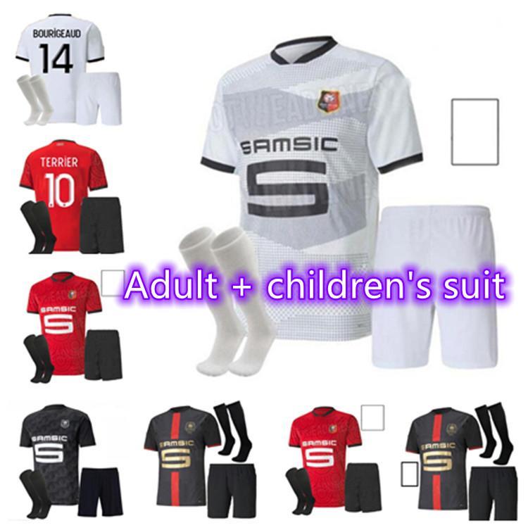 Spot Atacado 20 21 Stade Rennais Soccer Jersey Men Kit Kids 2020 2021 Raphinha Niang Terrier J.Martin Bourigeud Rennes Camisas de futebol