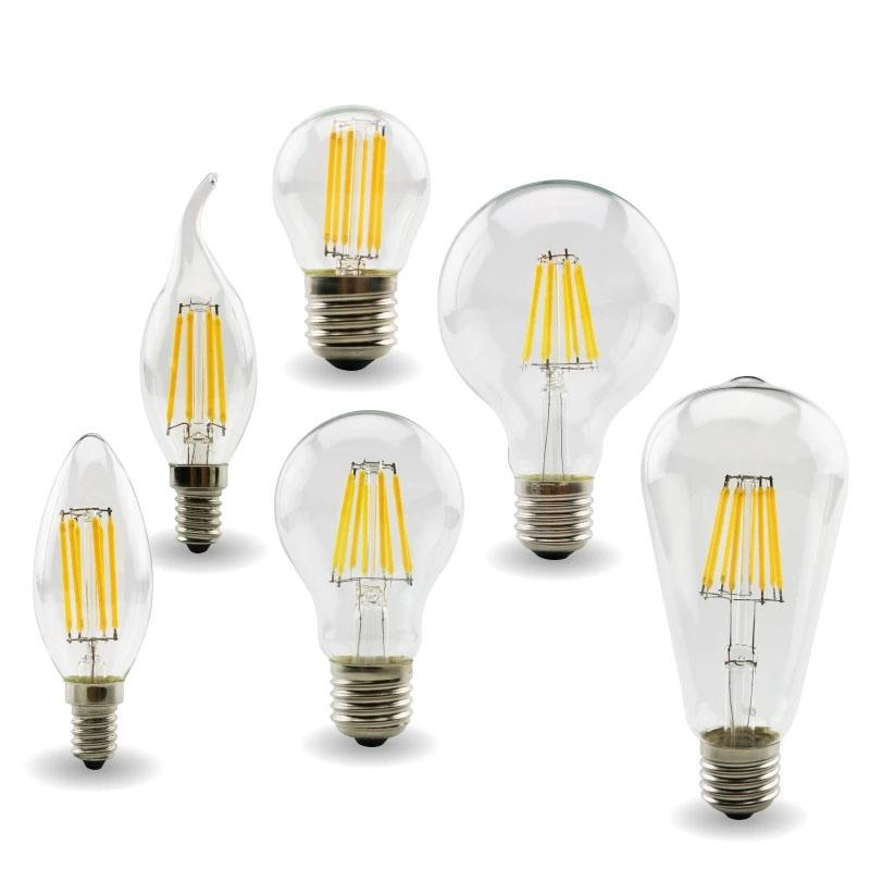 Lampadina a LED FILAMENT Dimmable C35 CANDLE Lampadina 2W 4W 6W E14 Lampadine Lampadine 220V Vetro trasparente Lampadari in cristallo Pendente Pendente Lampadina Edison Lampada