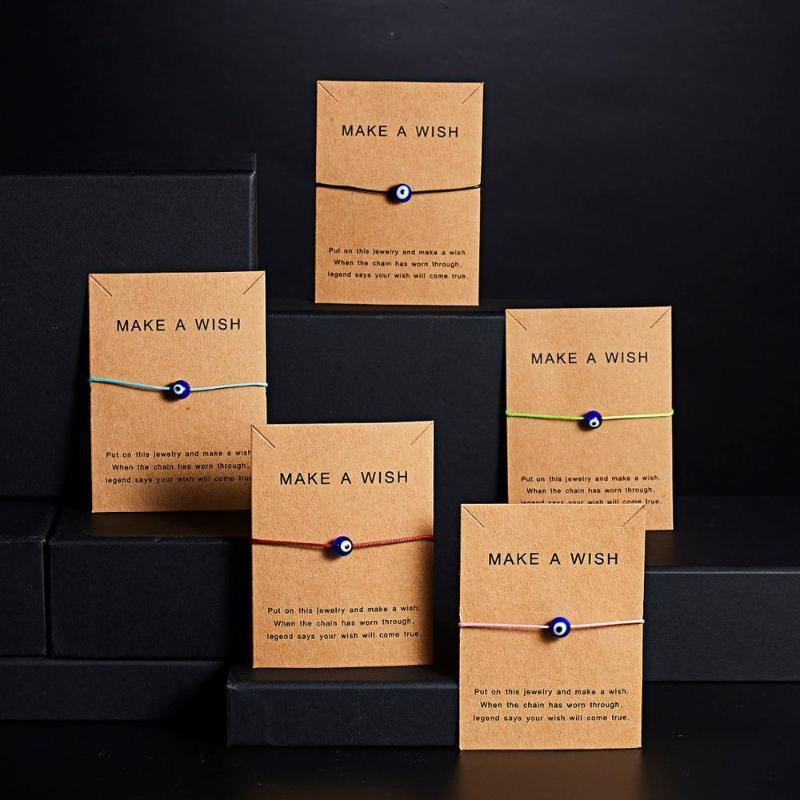 Rinhoo с картой Card Turkish Lucky Evily Eye Braclets 5 Цвета плетение веревочки синий глаз браслет счастливый обаяние ювелирные украшения подарки для женщин дети