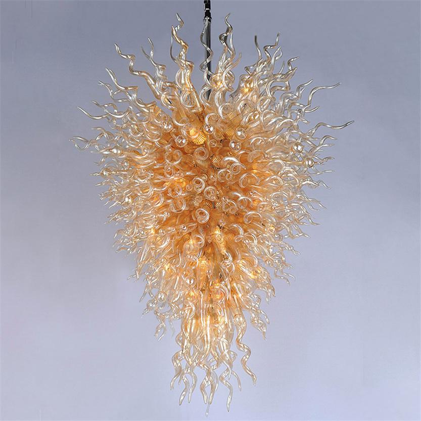 Amber colorate lampade a LED cristallo moderno lampadari domestici decorazione della casa a sospensione illuminazione a mano in vetro soffiato a mano lampadario luci