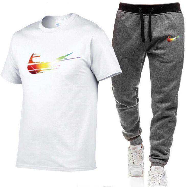 2021 T-shirt da uomo + Pantaloni Set da due pezzi Set Casual Tracksuit Uomo 100% cotone Suit Stampa Top + Pantaloni Pannelli Pantaloni fitness S-2XL