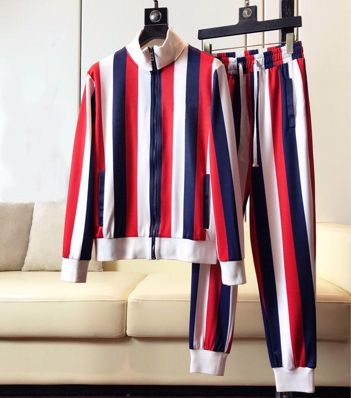 2020 Erkekler Setleri Kapüşonlu Eşofman Parça Ter Suits Üç Çizgili Erkek Eşkotlu Erkek Spor Takım Elbise Erkek Giyim M-3XL W58
