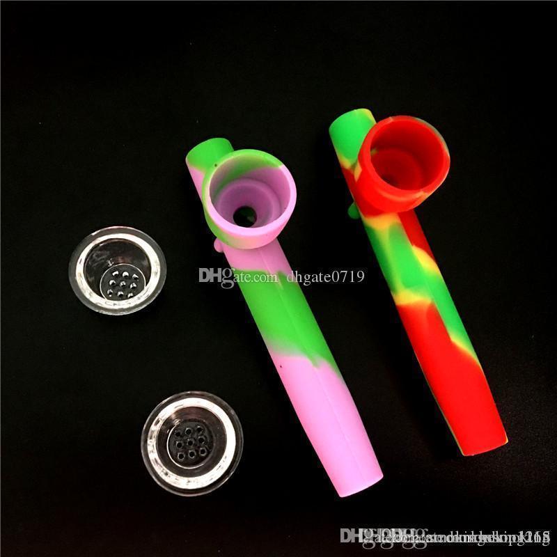 큰 눈송이 플레이크 그릇 실리콘 손 파이프 다채로운 실리콘 숟가락 파이프 흡연 파이프 건조 허브 담배 물 파이프