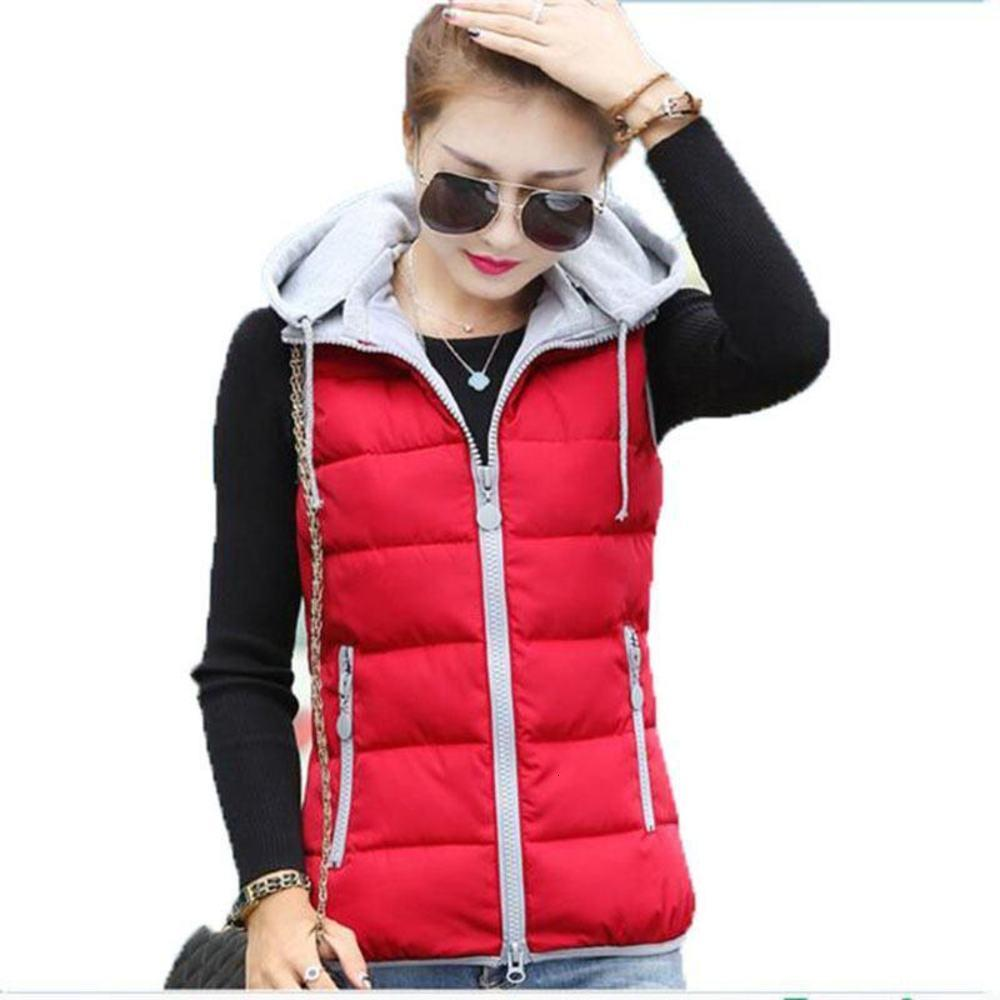 New Fashion Women Autumn and Winter Detachable Hood Slim Hooded Female Down Cotton Vest Waistcoat Jacket AC702