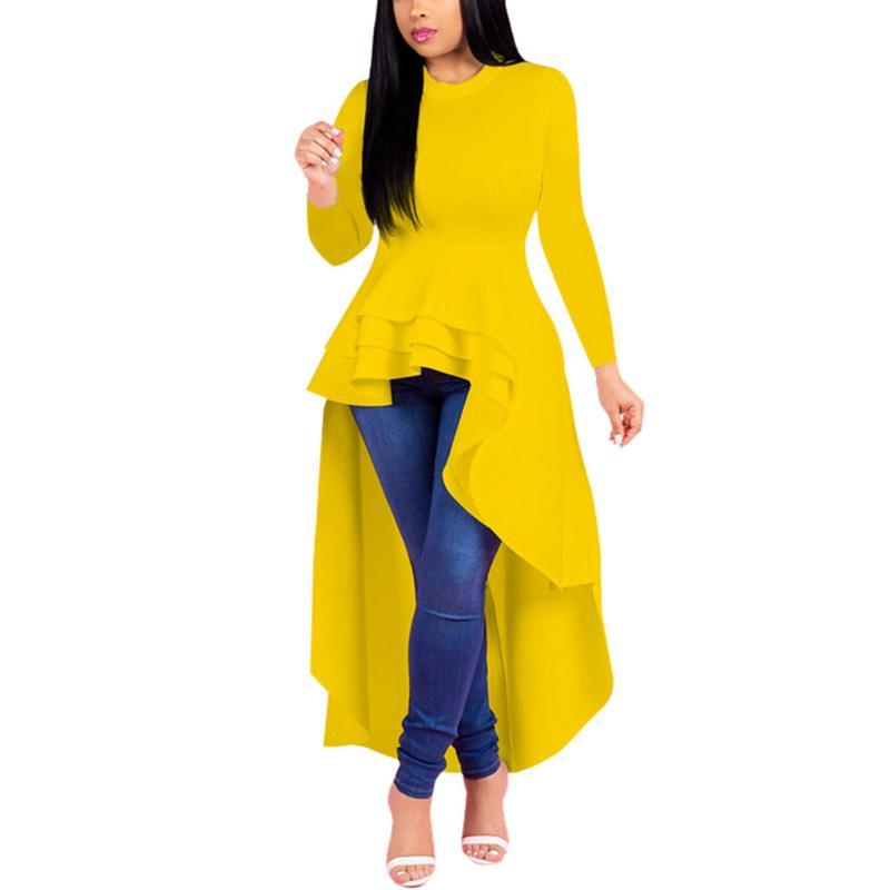 Women Blouse Ruffle High Low Tops Long Sleeve Bodycon Elegant Plus Size Shirt Womens Tops And Blouses ladies Camisas Mujer