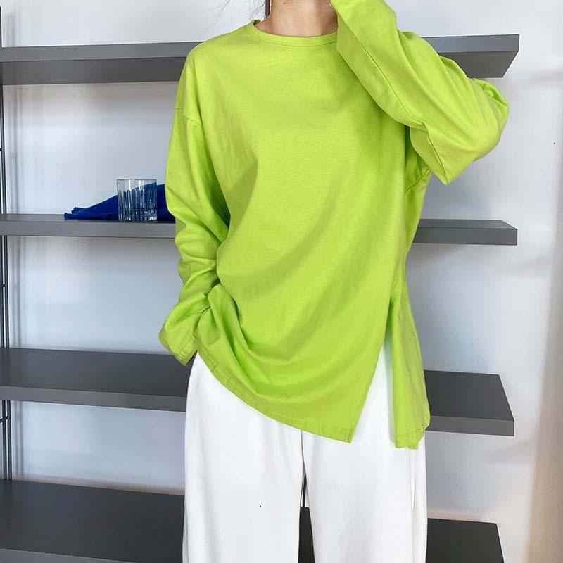 Summer New 2021 O-neck t Shirts Long Sleeve Pure Color Tops Boyfriend Style Loose Women White Tees K7YS