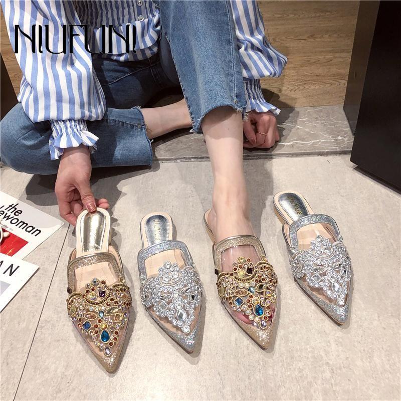 Niufuni Sommer Transparente kleine spitze Zehe Frauen Hausschuhe kleine farbige Diamant Pailletten flache Schuhe modisch komfortabel