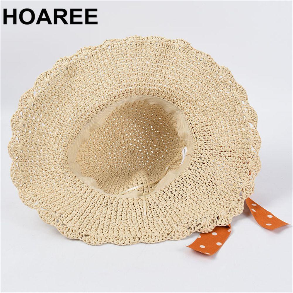Hoaree Sun Chapéu Para As Mulheres Verão Palha Dobrável Dobrável Brim Dot Bowknot Elegante Senhoras Vintage Bela Marca Casual Beach Cap J0226