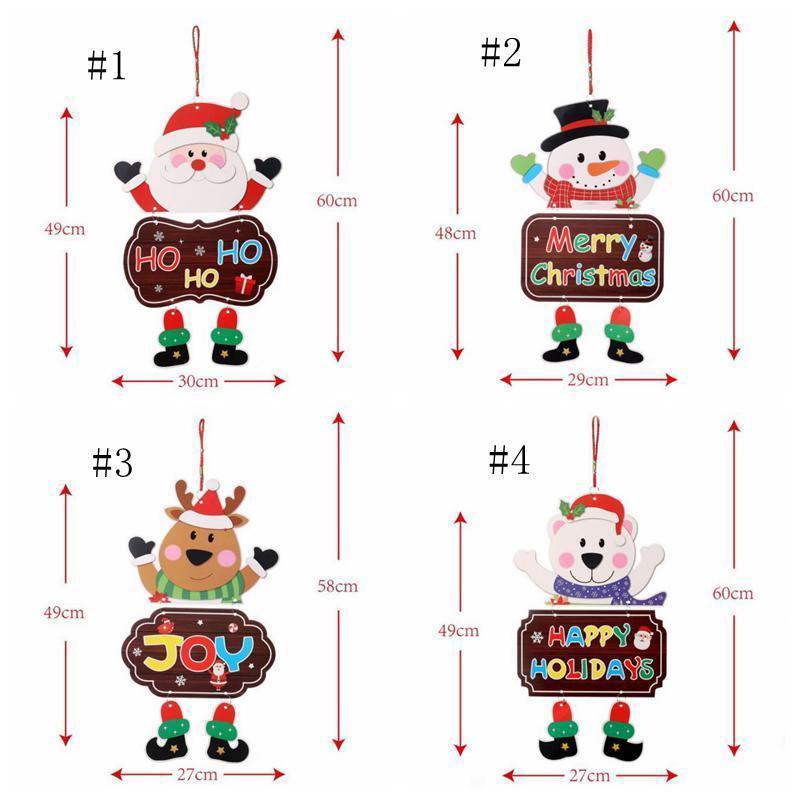 Weihnachtsverzierungen Papier Brett Tür Fenster Hängen Anhänger Willkommen Merry Boards Weihnachten Decortasionen Santa Claus Schneemann Dekorieren Kreative Spielzeug
