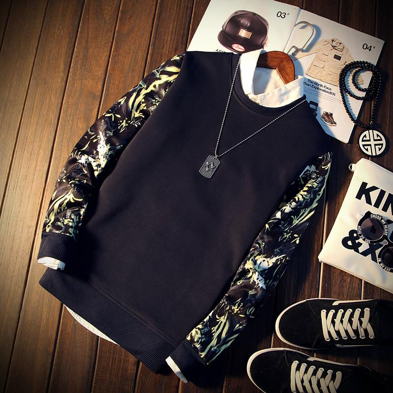 2020 Spring Automne Mode Mode Marque Hommes Patchwork Prince Floral Impression à manches longues O-Col O-Colo Cool Sweats Sweatshirt Tracksuit