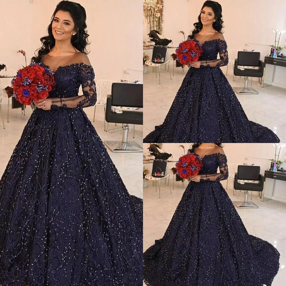 2021 New Sexy Navy Blue Ball Gown Quinceanera Dresses Jewel Neck Full Lace Crystal Beading Long Sleeves Party Prom Dress Evening Gowns