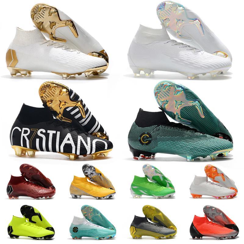Desconto Mercurial Superfly VI 360 Elite FG KJ 6 XII 12 Soccers Sapatos Cleats Mens Mulheres Neymar Cr7 High Soccer Shoe Futebol Botas 35-45