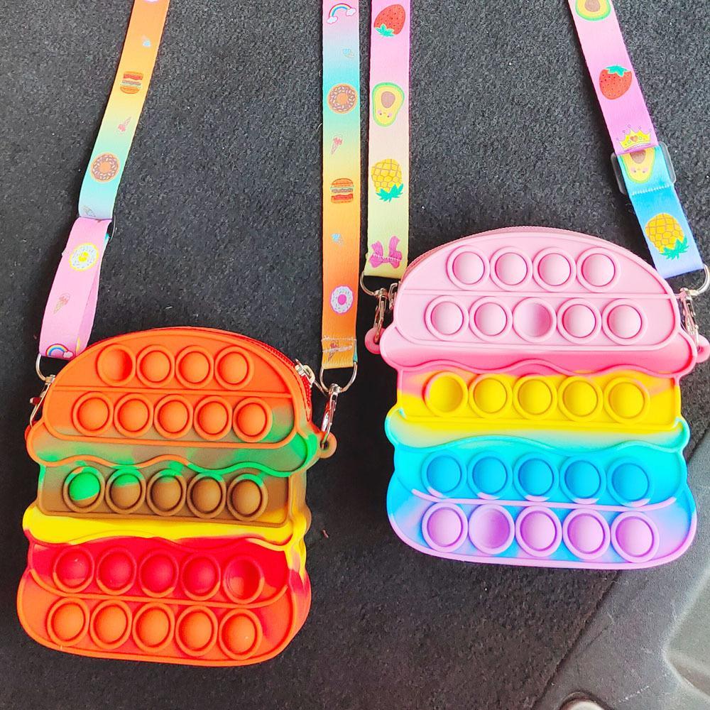 Fidget Toys Sensory hamburger color change shoulder bag Push Bubble Tie dye Anti Stress Educational Children Adults Decompression Toy Surprise wholesale