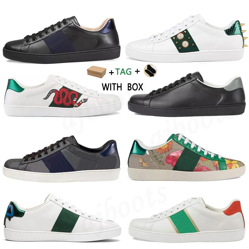 Top Quality Casual Dress Shoes Ace Bee Snake Tiger Chaussures Leather Sneakers Embroidered Stripes white Shoe Walking Sports Designer Trainers