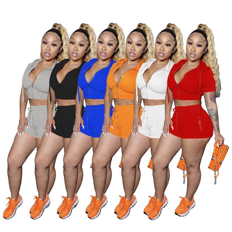 Vêtements d'été Femmes Sexy Jogger Costumes Culture Tops Short Sweats à manches courtes Manchettes Plus Taille 2xl Chemises Similaires Capris Outfits Chaud Sale 4532
